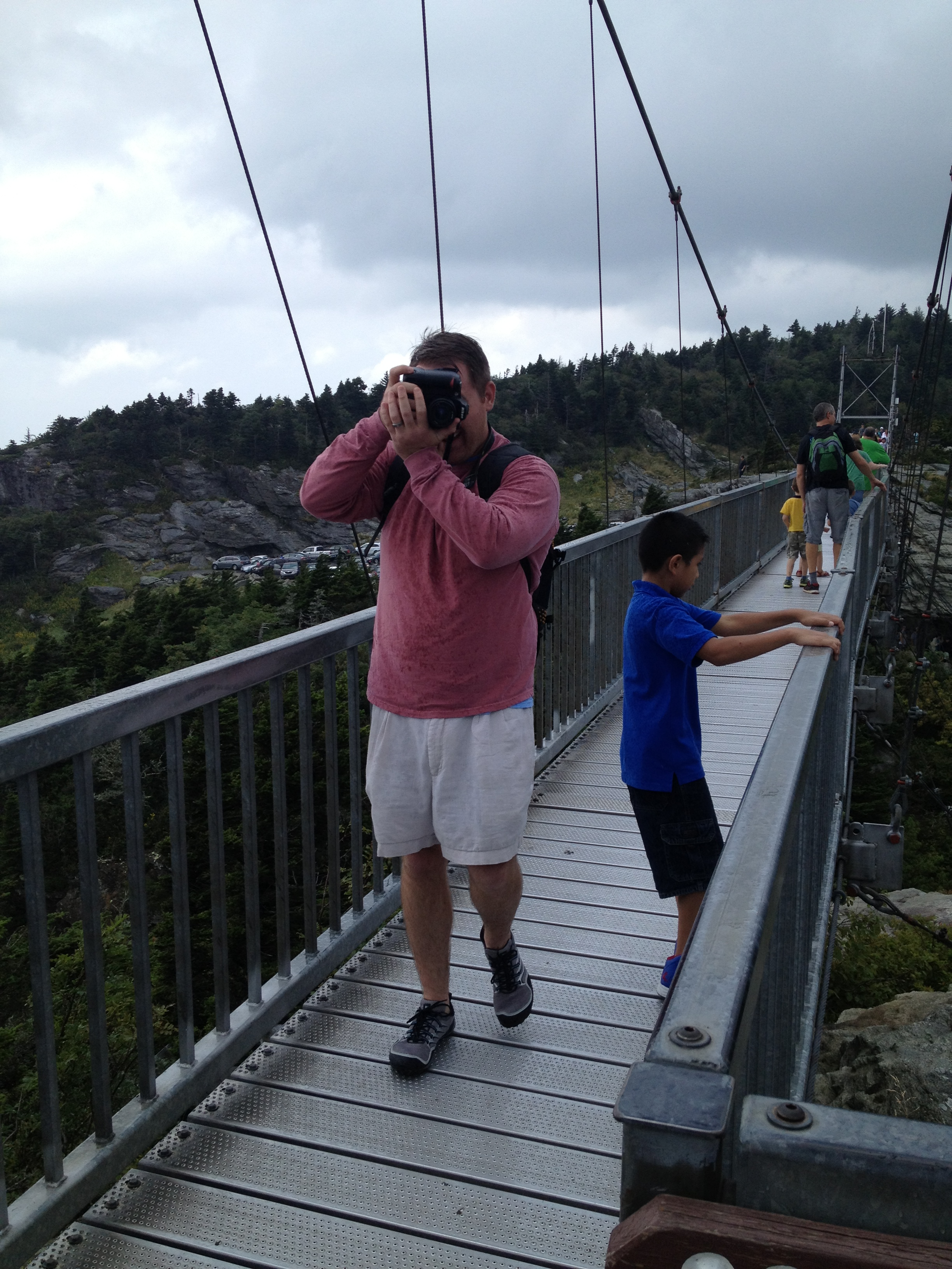Me taking a picture of Dustin taking my picture... crossing the bridge, of course!
