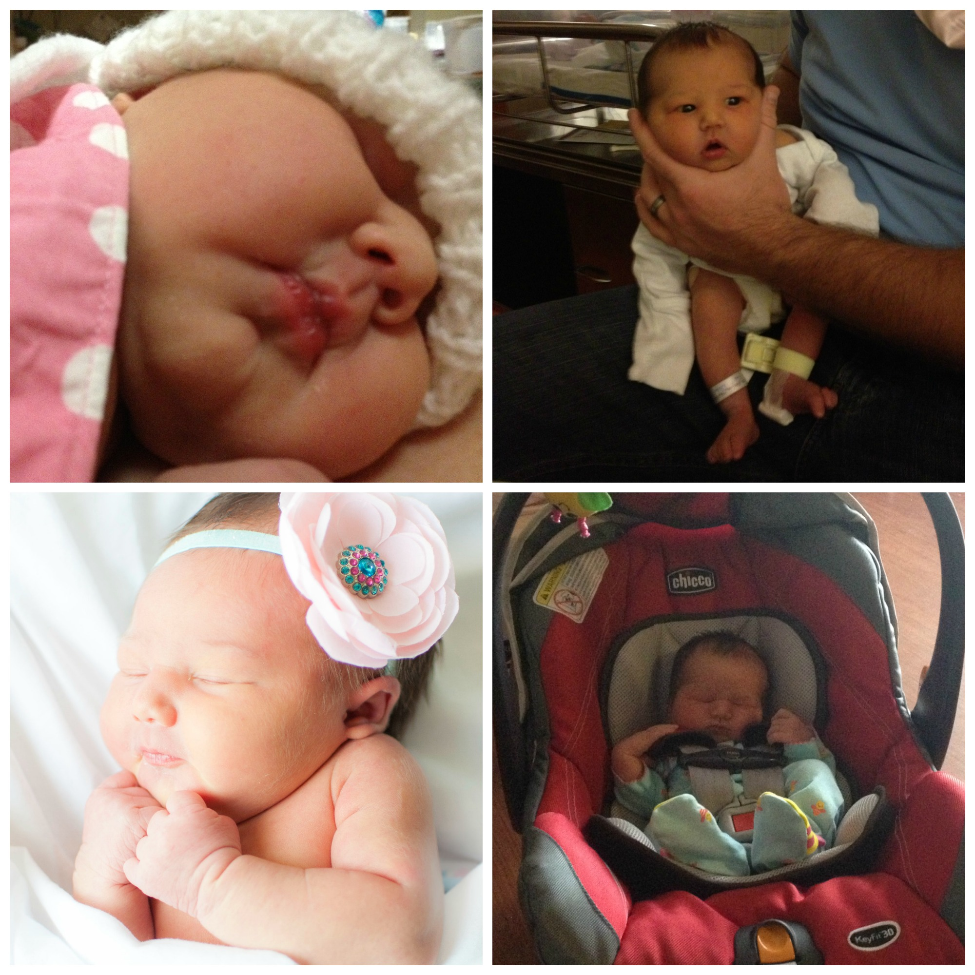 Clockwise from top left: My view of Emmy on the day she was born getting skin-to-skin time under my hospital gown, getting burped by daddy at 2 days old, headed home from the hospital, and at her first in-hospital photoshoot.