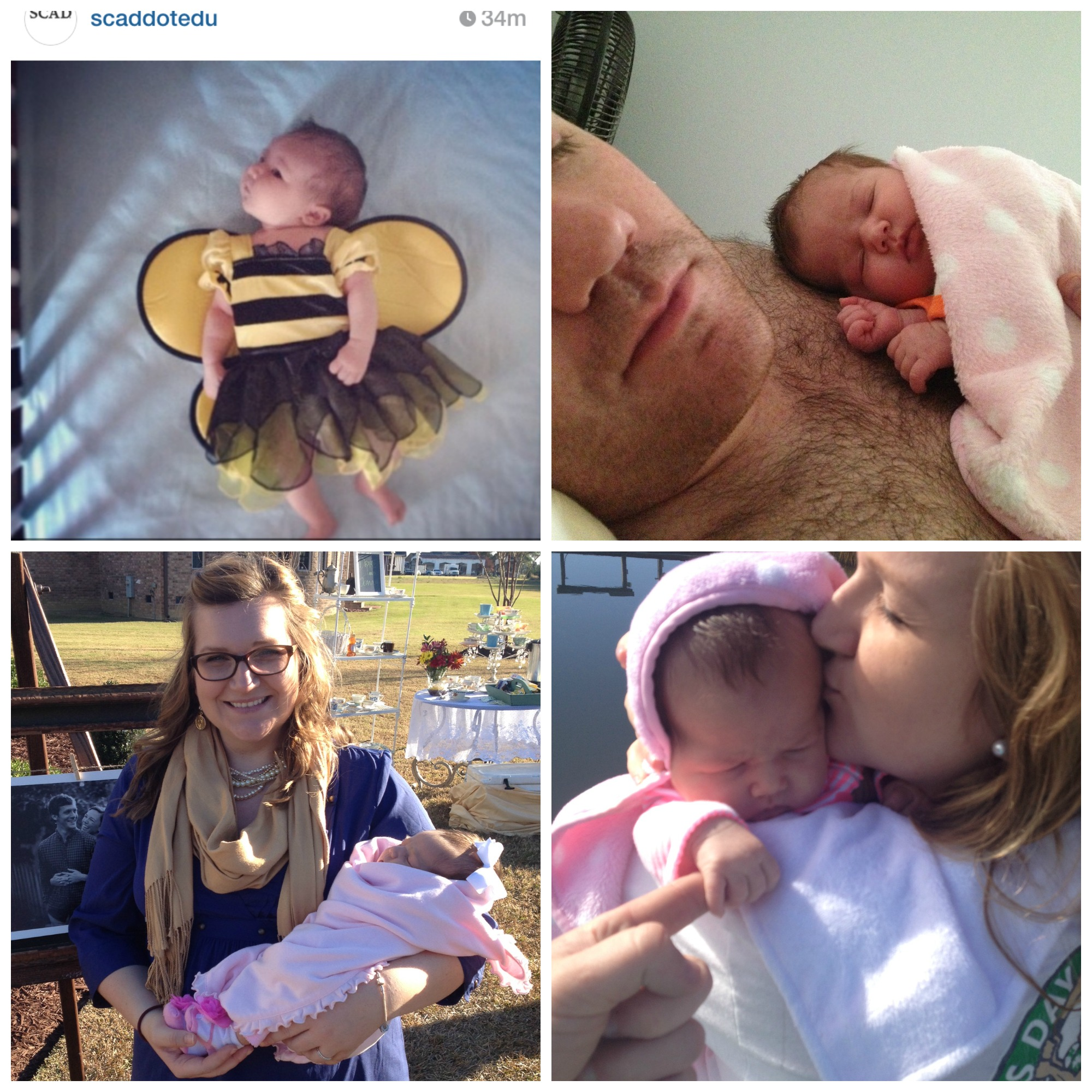 SCAD re-posted an IG pic of Emmy in her bee costume, Emmy sleeping on daddy, Emmy at her first visit to Surf City, and Emmy at the bridal shower